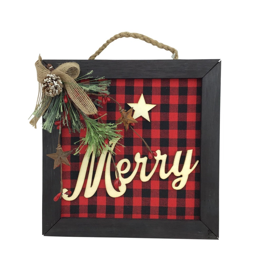 Buffalo Plaid Back Wood Merry Framed Ornament