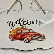 Welcome Metal Sign with Pumpkin Filled Red Truck