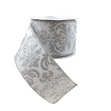 Bold Damask Faux Dupioni  White And Silver Ribbon
