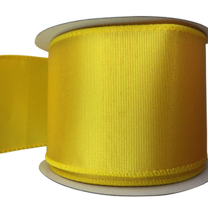 Two And Half Inch Yellow Daffodil Ribbed Satin Ribbon