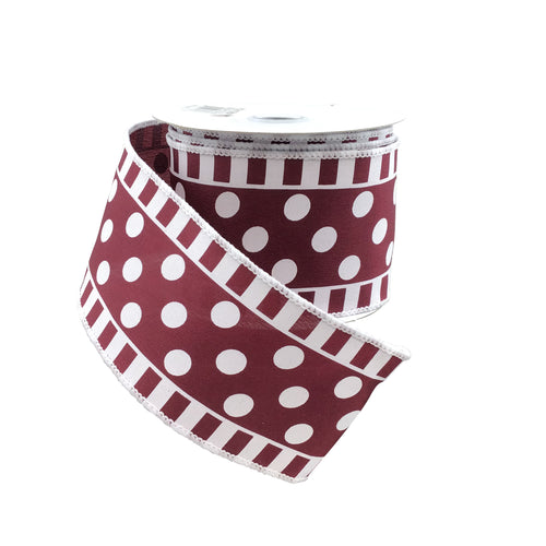 Dots And Stripes On Satin Ribbon Burgandy And White