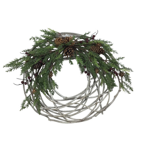 18 Inch Cedar Pinecone Half Wreath