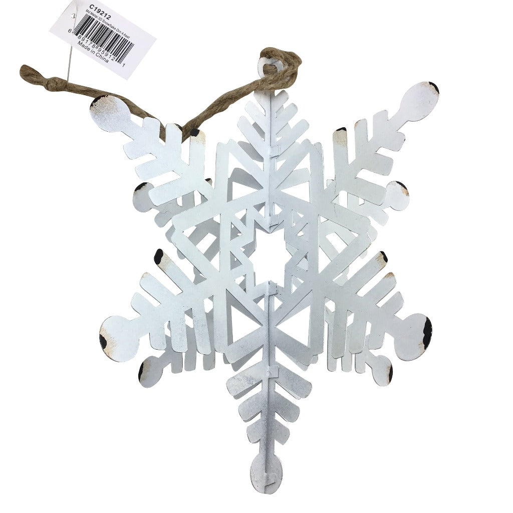 Metal 3D Snowflake Ornament 4 Assorted Styles
