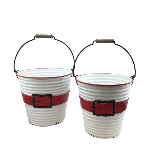 Enamel Santa Belt Bucket w/Handle Set of 2