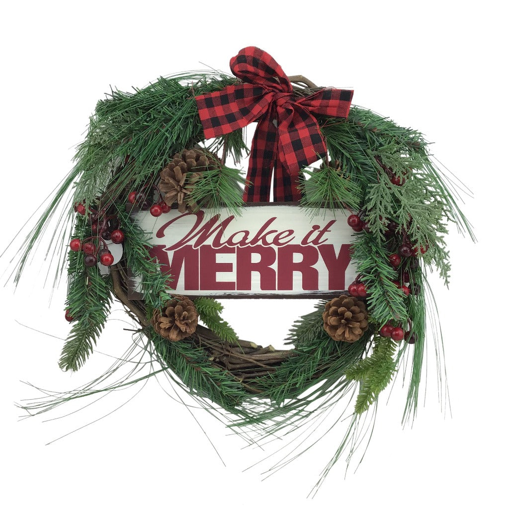 20 Inch Christmas Grapevine Pre Made Wreath