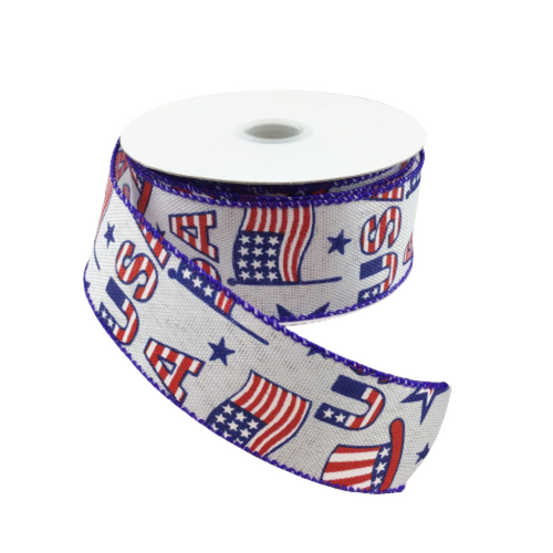 1.5 In x 10 Yard White Linen Patriotic Flags USA Ribbon