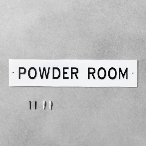 White and Black Large 'Powder Room' Sign