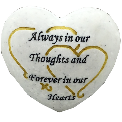 Always in our Thoughts Resin Heart - White