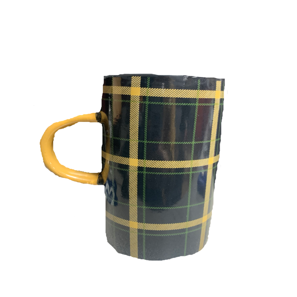 Blue and Green Plaid Ceramic Coffee Cup