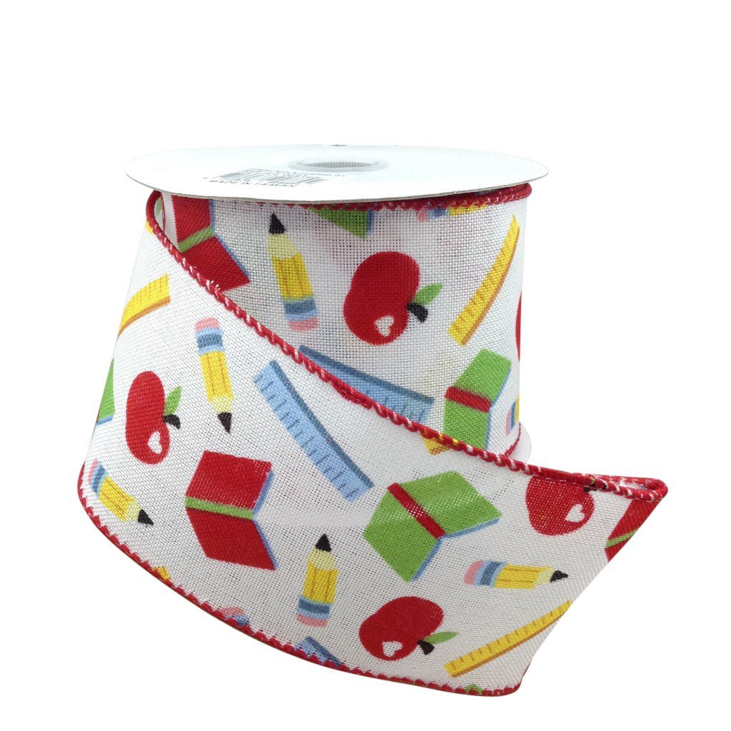 Back To School Wired Ribbon 2.5 Inch 10 Yard Roll