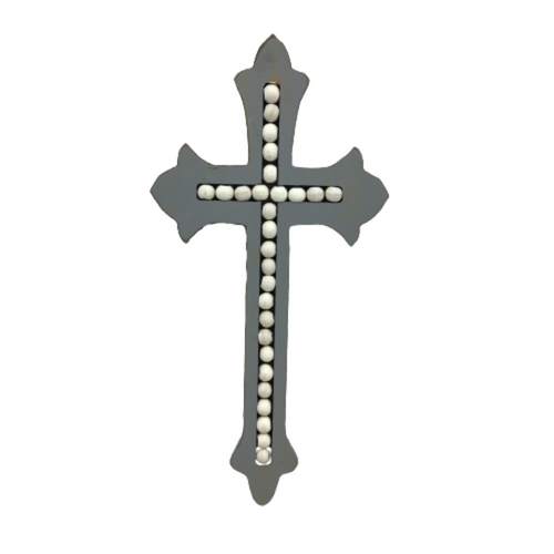 Distressed Gray & Beaded Wall Cross