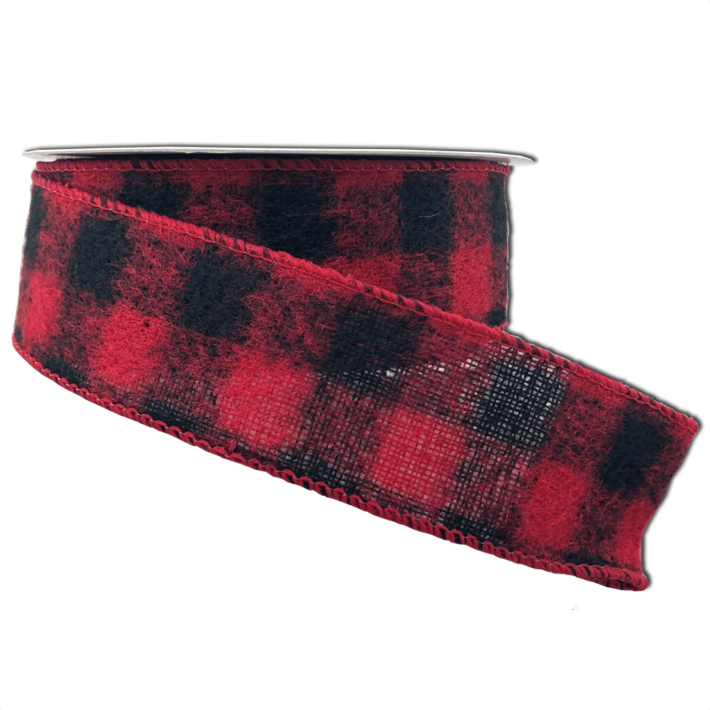 Black And Red Brushed Square Plaid Ribbon 1.5 Inch 10 Yard Roll