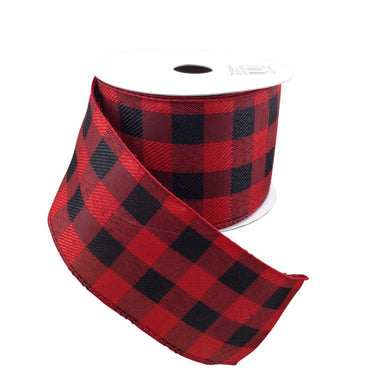 Black And Red Buffalo Plaid Ribbon 2.5 Inch