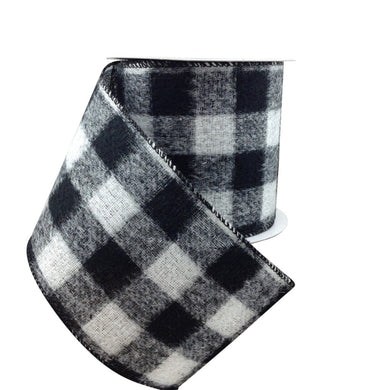 Black And White Brushed Buffalo Plaid Ribbon 4 Inch 10 Yard Roll