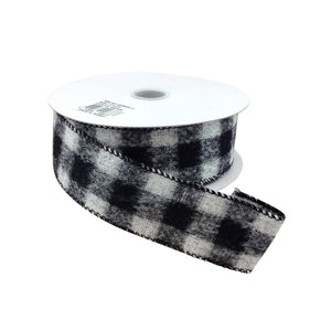 Black And White Brushed Square Plaid Ribbon 1.5 Inch 10 Yard Roll