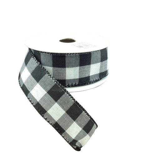 Black And White Buffalo Plaid Ribbon 1.5 Inch