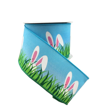Blue Linen Wired Ribbon With Bunny Ears