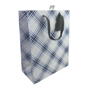Blue and White Plaid Gift Bag
