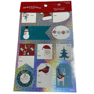 Peel-And-Stick Gift Tags Blue Themed