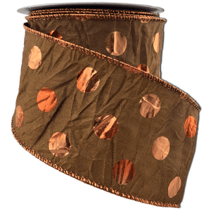 Brown Satin Ribbon With Copper Foil Dots 2.5 Inch 10 Yard Roll