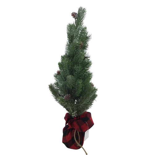18 Inch Frosted Pine Tree In Red And Black Check Potted