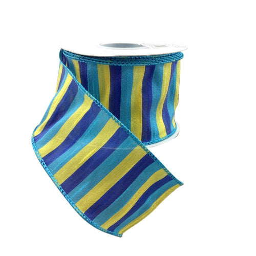 Cabana Multi Striped Wired Sheer Ribbon