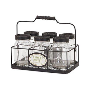 Canning Glass Jars in Farmers Market Decorative Caddy - Set of 6