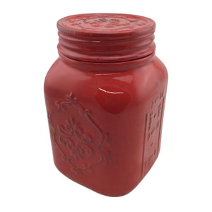 Ceramic Red Mason Jar Cookie Jar