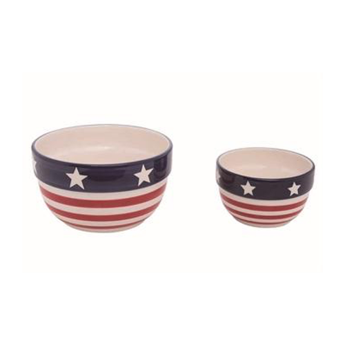 Ceramic Stars & Stripes Americana Bowl Set