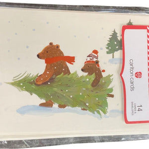 Carlton Cards 14 Count Bears Carrying Christmas Tree