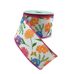 Wildflowers on White Royal 2.5 Inch x 10 Yard Ribbon