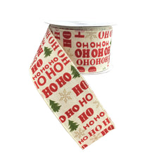 "Cream Linen With Red ""Ho Ho Ho"" Wired Ribbon"