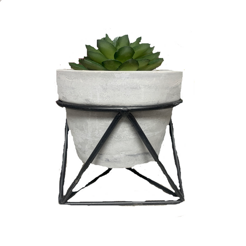 Gray Stone Plant with Stand