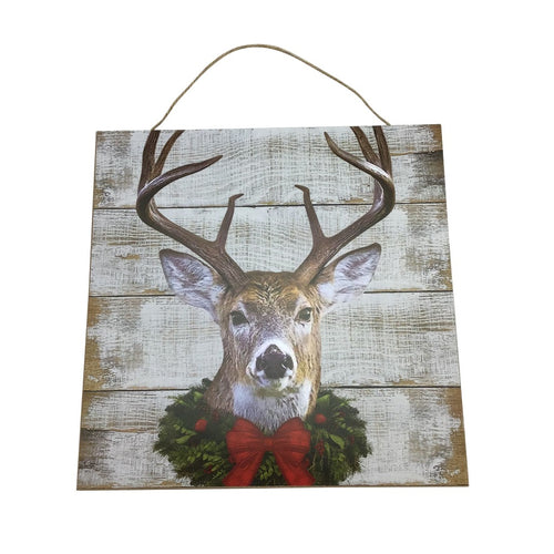 Slat Wood Deer With Wreath Wooden Square Sign