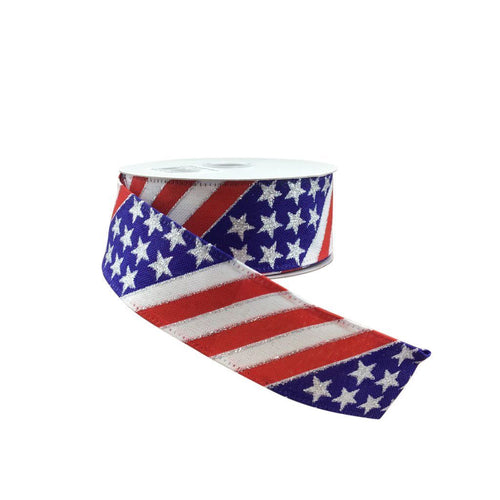 Diagonal  Striped Flag Ribbon