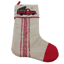 Fabric Christmas Stocking With Truck Or Bicycle Design 2 Assorted Styles