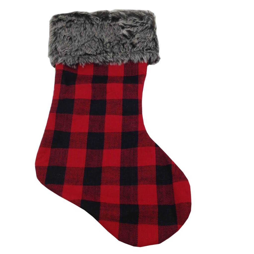 Fabric Plaid Stocking 23 Inch Long 2 Assorted Styles