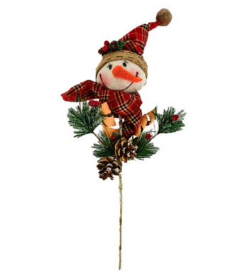 Fabric Snowman Head On Pole
