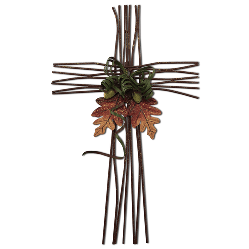 Fall Brown Metal Twigs Cross