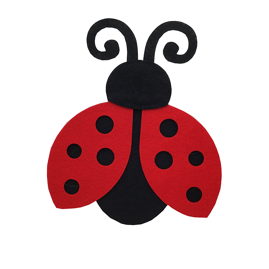 Felt Red and Black Lady Bug Decor - Two Sizes