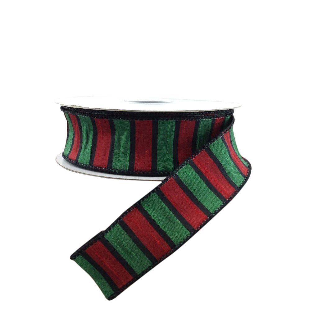 Florence Stripe Dupioni Wired 1.5 Inch Ribbon