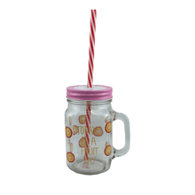 "Four Piece ""Fruit Day"" Mug Set w/ Straws"