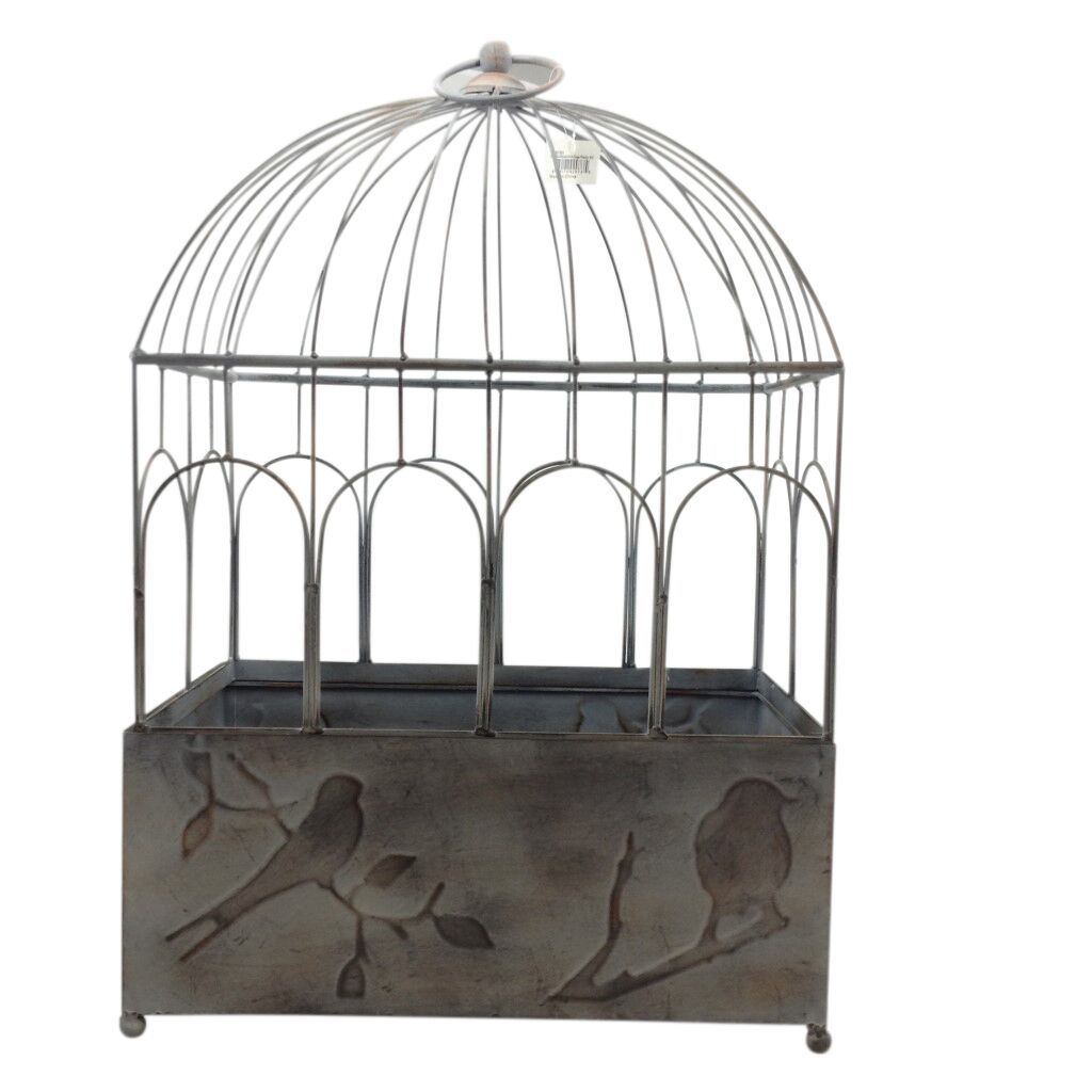 Galvanized Rectangle Bird Cage Planter - Two Sizes