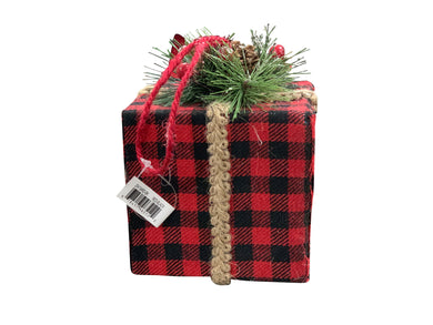 Gift Box Ornament Buffalo Plaid Black And Red