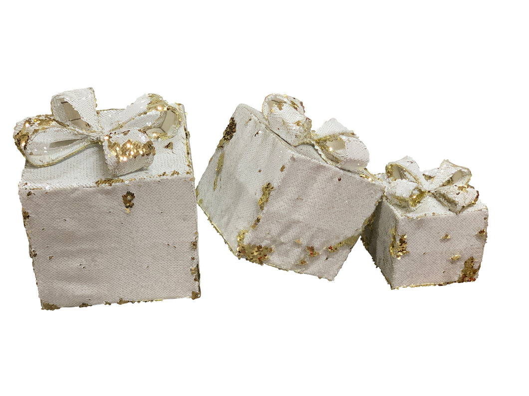Gift Box Sequins 3 Piece Set White And Gold