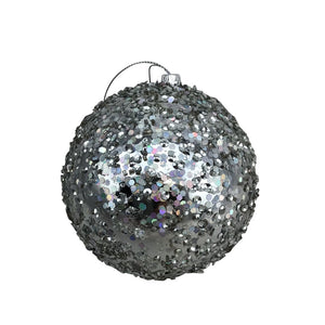 Glittered Beaded Silver Ball Ornament- 5 Inch