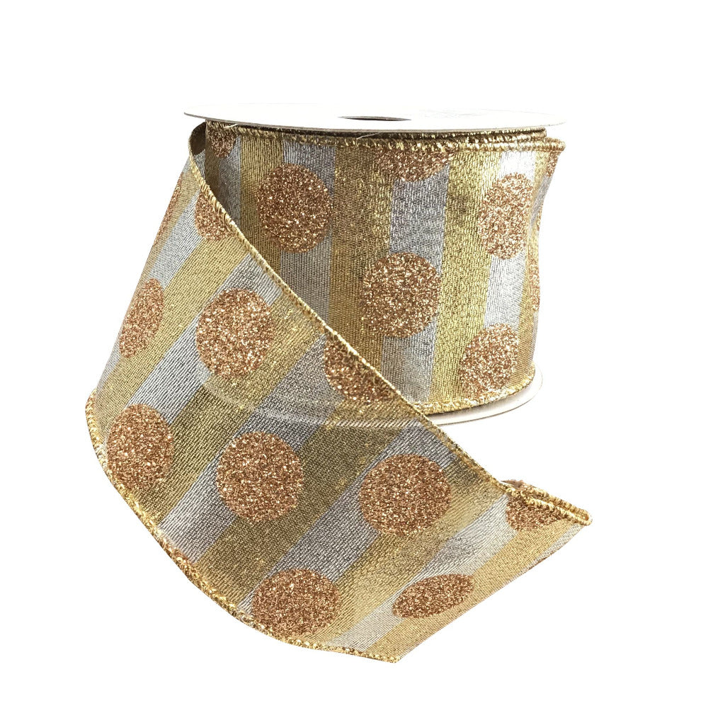Gold And Silver Striped Wired Ribbon With Gold Glitter Dots