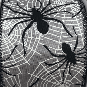 Gray Satin Ribbon With Spider Webs And Spiders 2.5 Inch 10 Yard Roll