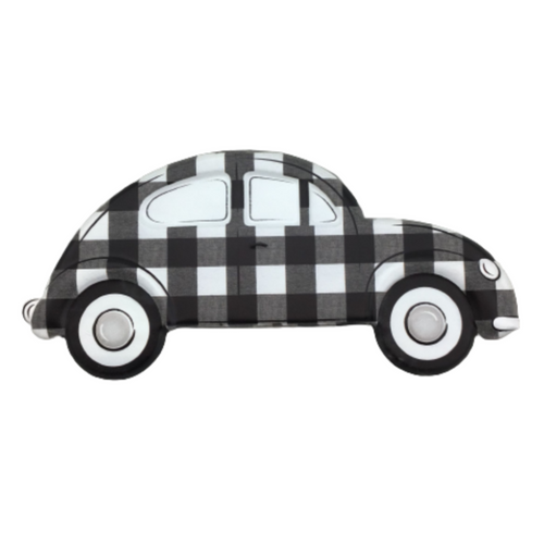 Embossed Gray And White Checked Vintage Bug