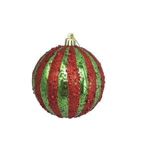 Red Green Antique Glitter Sequin Ball Ornament